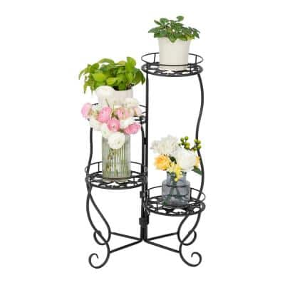 28.3 in. Tall Indoor/Outdoor Black Metal 4 Round Potted Pot Stand Plants