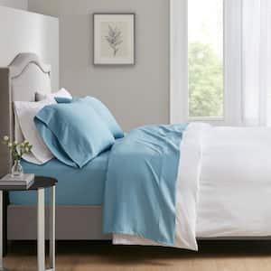 700 Thread Count 4-Piece Blue Cotton Blend Queen Anti-Microbial Sheet Set