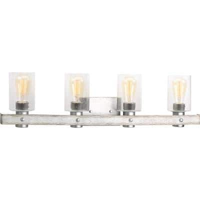Gulliver Collection 4-Light Galvanized Finish Clear Seeded Glass Coastal Bath Vanity Light