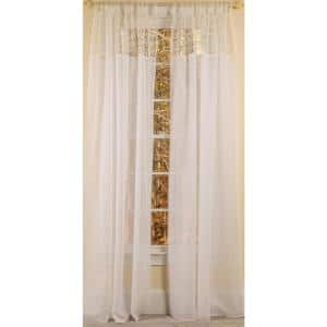 White Border Rod Pocket Sheer Curtain - 52 in. W x 96 in. L