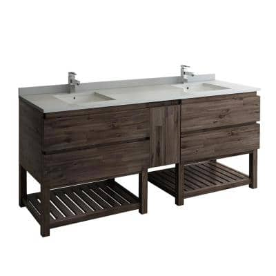 Formosa 84 in. Modern Double Vanity with Open Bottom in Warm Gray with Quartz Stone Vanity Top in White with White Basin