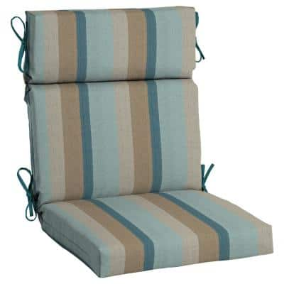 21.5 x 44 Sunbrella Gateway Mist High Back Outdoor Dining Chair Cushion