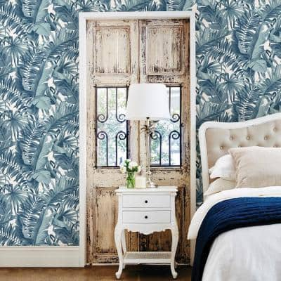 Alfresco Navy Palm Leaf Paper Strippable Roll Wallpaper (Covers 56.4 sq. ft.)