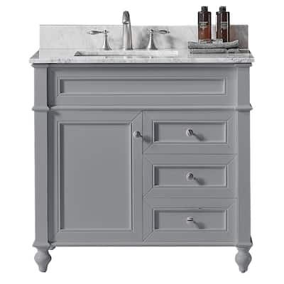 Margaux 36 in. W x 22 in. D x 34.2 in. H Bath Vanity in Taupe Grey w/ Carrara Marble Vanity Top in White w/ White Basin