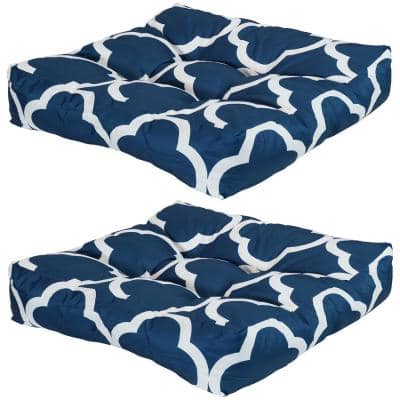 20 in. x 20 in. Navy Blue and White Quatrefoil Square Tufted Outdoor Seat Cushions (Set of 2)