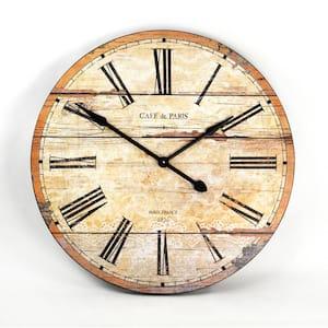 Round Antique Taupe Roman Numeral Wooden Clock