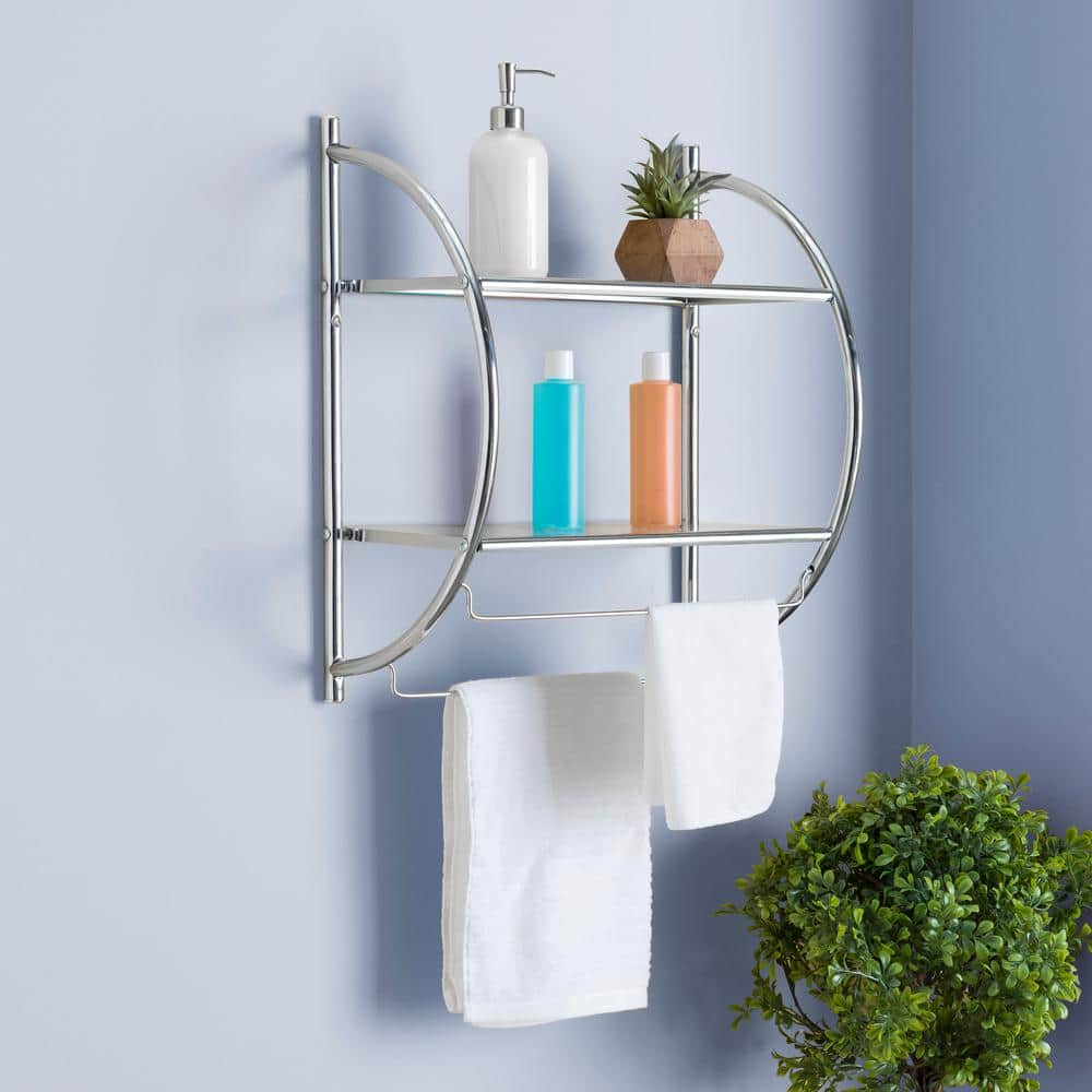 Home Basics 10 In W Hanging Steel 2 Tier Shelf In Chrome Bs10105 The Home Depot