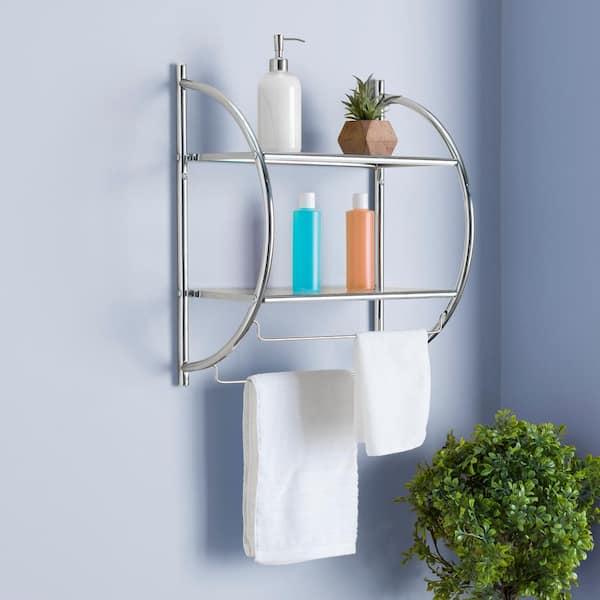 Home Basics 10 In W Hanging Steel 2, Hanging Bathroom Shelf
