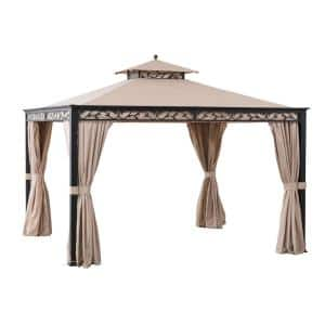 Bradley 10 ft. x 12 ft. Steel Gazebo with Mosquito Netting and Curtain