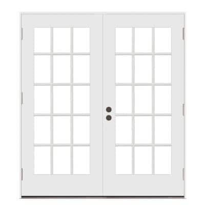 72 in. x 80 in. Right-Hand/Outswing Low-E 15 Lite Primed Steel Double Prehung Patio Door