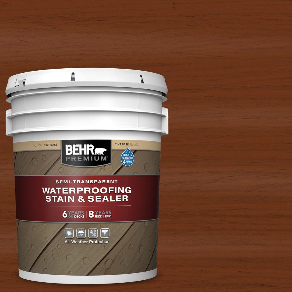 5 gal. #ST-130 California Rustic Semi-Transparent Waterproofing Exterior Wood Stain and Sealer