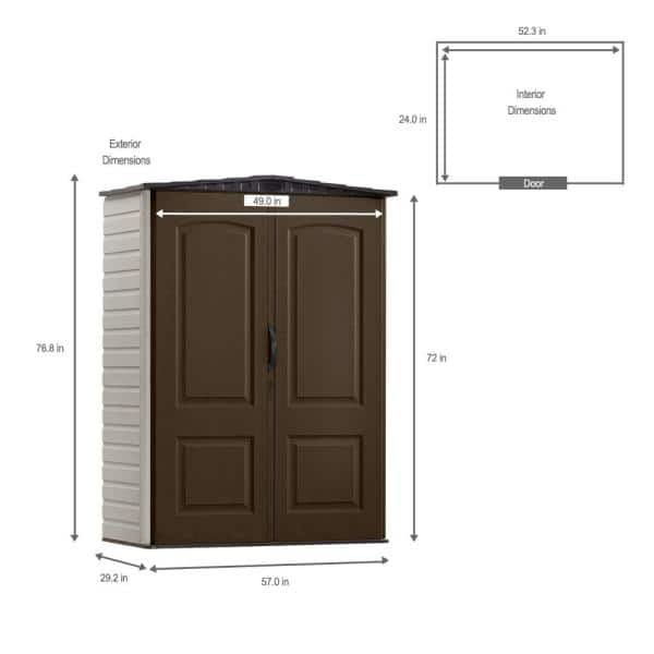 Rubbermaid 2 Ft 4 In X 4 Ft 8 In Small Vertical Resin Storage Shed 1967660 The Home Depot