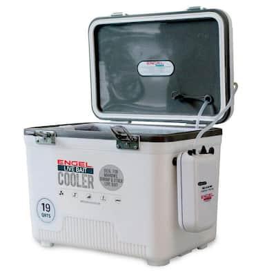 19 qt. 4.75 Gal. Hard Sided Live Bait Fishing Dry Box Cooler, White