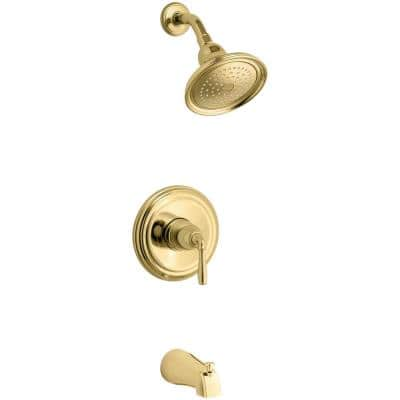 Devonshire 1-Handle Rite-Temp Tub and Shower Faucet Trim Kit in Vibrant Polished Brass (Valve Not Included)