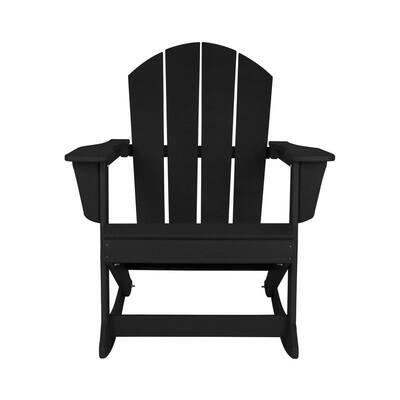 AMOS Black Outdoor Rocking Poly Adirondack Chair