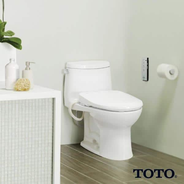 Toto S350e Washlet Electric Bidet Seat For Round Toilet With Ewater In Cotton White Sw583 01 The Home Depot