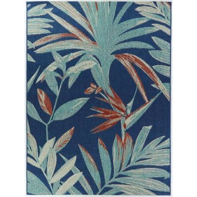 Palm Blue 8 ft. x 10 ft. Argyle Indoor/Outdoor Area Rug