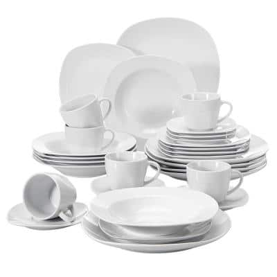 Elisa White Porcelain 30-Piece Casual Ivory White Porcelain Dinnerware Set (Service for 6)