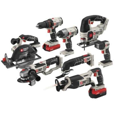 20-Volt MAX Lithium-Ion Cordless Combo Kit (8-Tool) with 4.0 Ah Battery, 1.5 Ah Battery, Charger and Bag