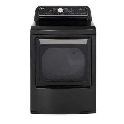 7.3 cu. ft. Ultra Large Black Steel Smart Gas Vented Dryer with EasyLoad Door, Sensor Dry & TurboSteam, ENERGY STAR