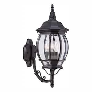 3-Light Black Outdoor Wall Lantern Sconce