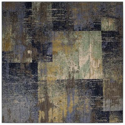 Empire Periwinkle 8 ft. x 8 ft. Square Geometric Area Rug