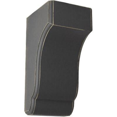 4-3/4 in. x 10 in. x 5-1/2 in. Black Capistrano Mission Wood Vintage Decor Corbel