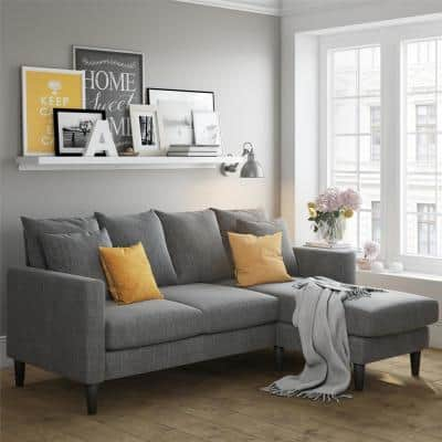 Henderson Gray Polyester 3-Seater L-Shaped Reversible Sectional Sofa with Removable Cushions