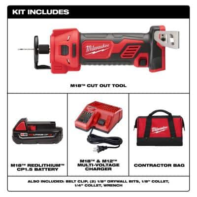 M18 18-Volt Lithium-Ion Cordless Rotary Cut Out Tool Kit with Two 1.5 Ah Batteries, Charger and Tool Bag