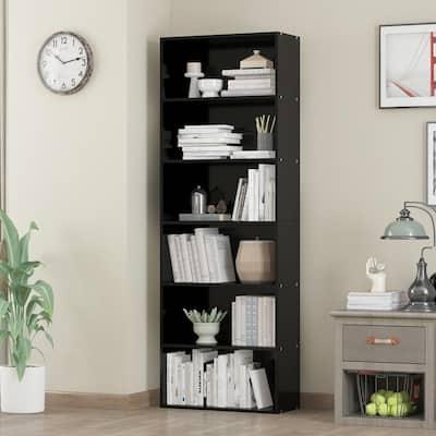 70.9 in. Black Bamboo Bookshelf 6-Shelf Standard Bookcase Multi Tier Flower Stands Storage Shelving Units