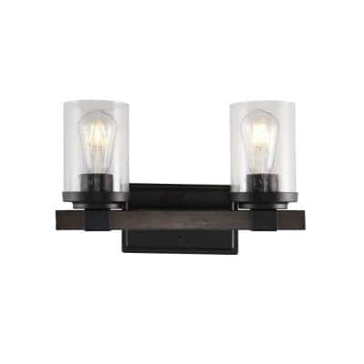 Bungalow 15 in. 2-Light Oil Rubbed Bronze Iron/Seeded Glass Rustic Farmhouse LED Vanity Light