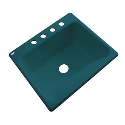 Kensington Drop-In Acrylic 25 in. 4-Hole Single Bowl Utility Sink in Teal