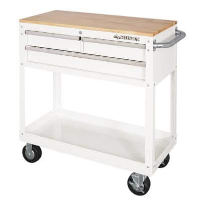 36 in. 3-Drawer with Solid Wood Top in Gloss White Utility Cart