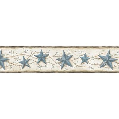 June Blue Heritage Tin Star Blue Wallpaper Border
