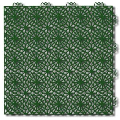 XL 1.24 ft. x 1.24 ft. Plastic Interlocking Deck Tile in Graphite and Spring Green (28 Tiles Per Case)