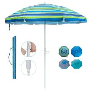 7 ft. Telescoping Steel Pole Beach Umbrella with Sand Anchor Push Button Tilt and Carry Bag in Green Stripe