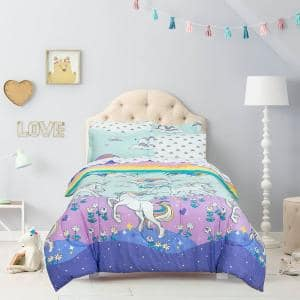 Magical Unicorn Multicolor Bed in a Bag with Reversible Comforter