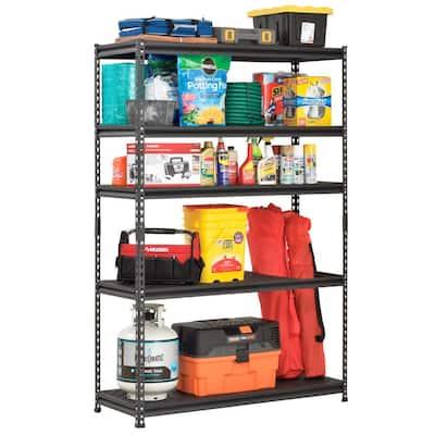Black 5-Tier Heavy Duty Steel Garage Storage Shelving (48 in. W x 78 in. H x 18 in. D)