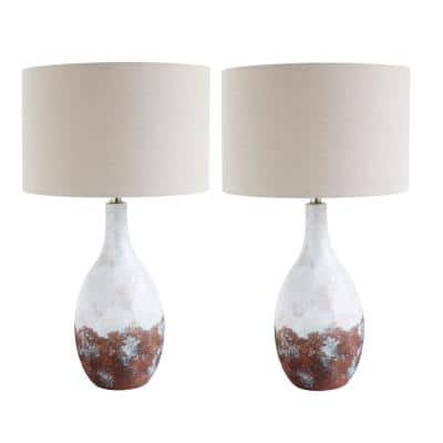 28 in. Bronze and White Ceramic Table Lamp with Linen Shade (Set of 2 Lamps)