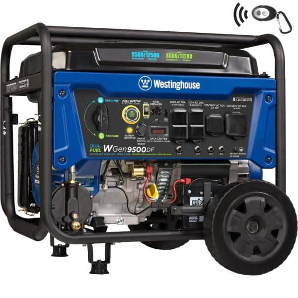 Westinghouse WGen9500DF 12,500/9,500-Watt Dual Fuel Portable Generator with Remote Start and Transfer Switch Outlet for Home Backup