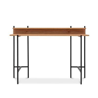 Querencia 47 in. Retangular Acacia Writing Desk with Shelf and Steel Legs