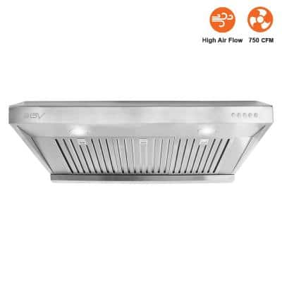 36 in. 750 CFM Under Cabinet Range Hood with Baffle Filters, LED Lights and Push Buttons in Stainless Steel