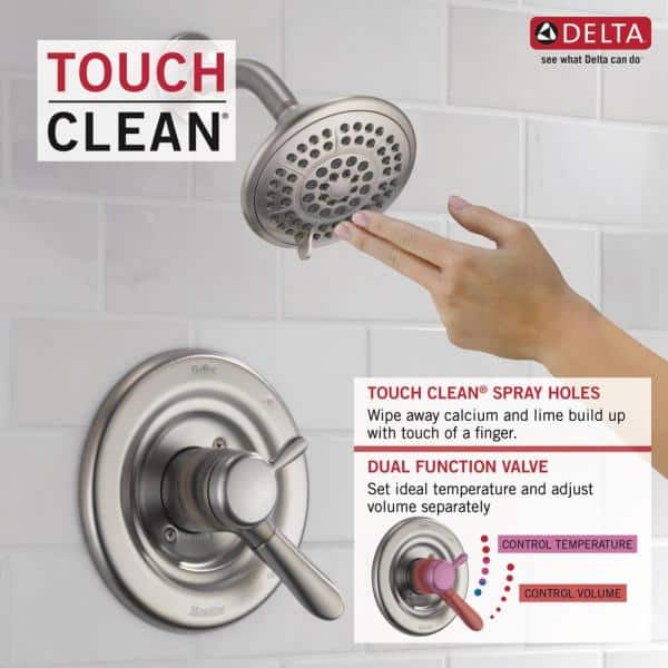 Delta Lahara 1 Handle Tub And Shower Faucet Trim Kit In Stainless Valve Not Included T17438 Ss The Home Depot