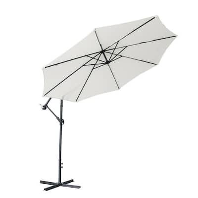 9 ft. Iron Cantilever Modern Banana Patio Umbrella in White