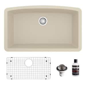 QU-712 Quartz/Granite 32 in. Single Bowl Undermount Kitchen Sink in Bisque with Bottom Grid and Strainer
