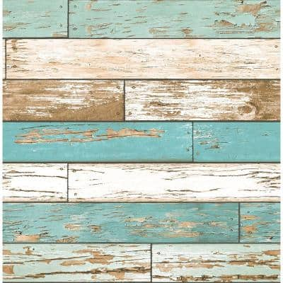 Scrap Wood Turquoise Weathered Texture Turquoise Wallpaper Sample