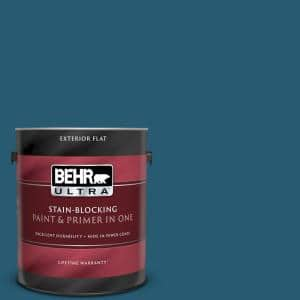 Behr Ultra 1 Gal 540d 7 Deep Blue Sea Flat Exterior Paint And Primer In One 485301 The Home Depot