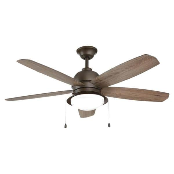 Home Decorators Collection Ackerly 52 In Integrated Led Indoor Outdoor Bronze Ceiling Fan With Light Kit 59214 The Home Depot