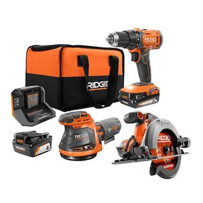18V Cordless 3-Tool Combo Kit with Drill/Driver, Circular Saw, Sander, 2.0 Ah and 4.0 Ah Battery, Charger, and Bag