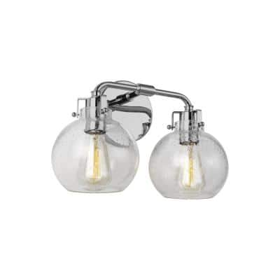 Clara 14 in. 2-Light Chrome Vanity Light Clear Seeded Glass Shades